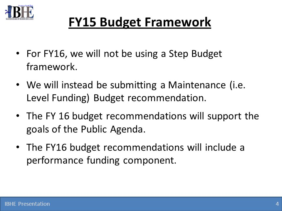 FY15 Budget Framework For FY16, we will not be using a Step Budget framework.