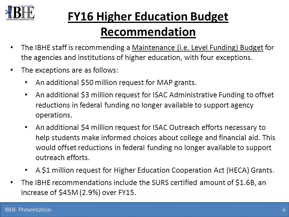 FY16 Higher Education Budget Recommendation