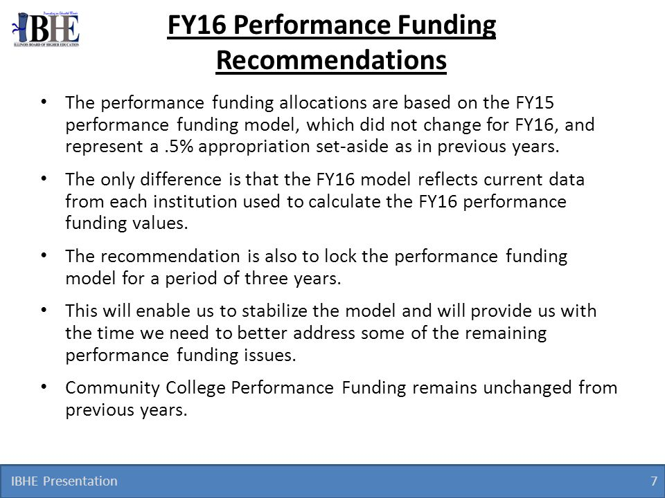 FY16 Performance Funding Recommendations