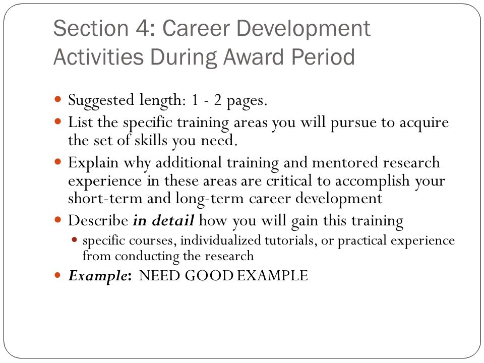 Section 4: Career Development Activities During Award Period