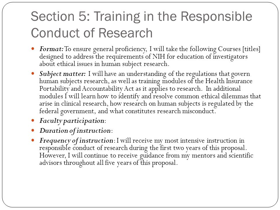 Section 5: Training in the Responsible Conduct of Research