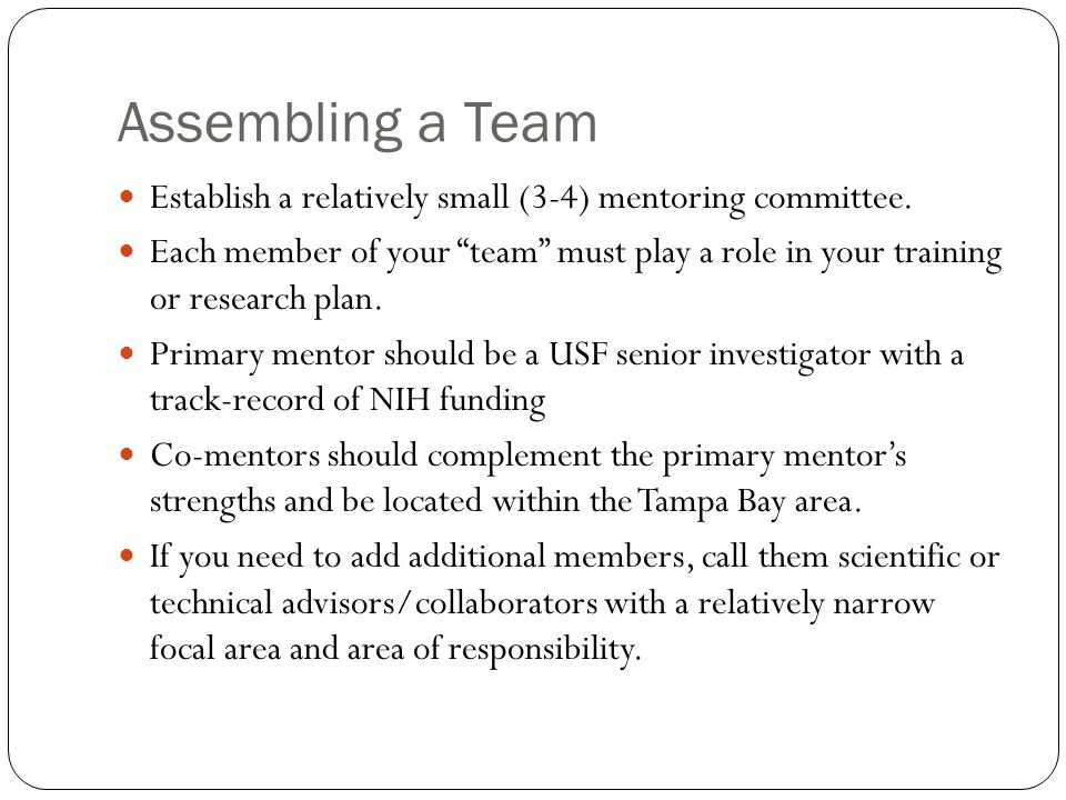 Assembling a Team Establish a relatively small (3-4) mentoring committee.