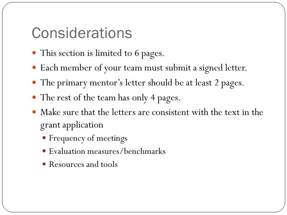 Considerations This section is limited to 6 pages.