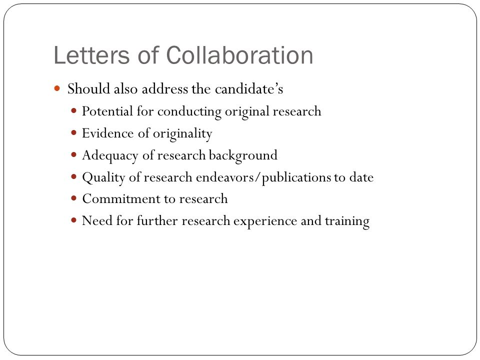 Letters of Collaboration