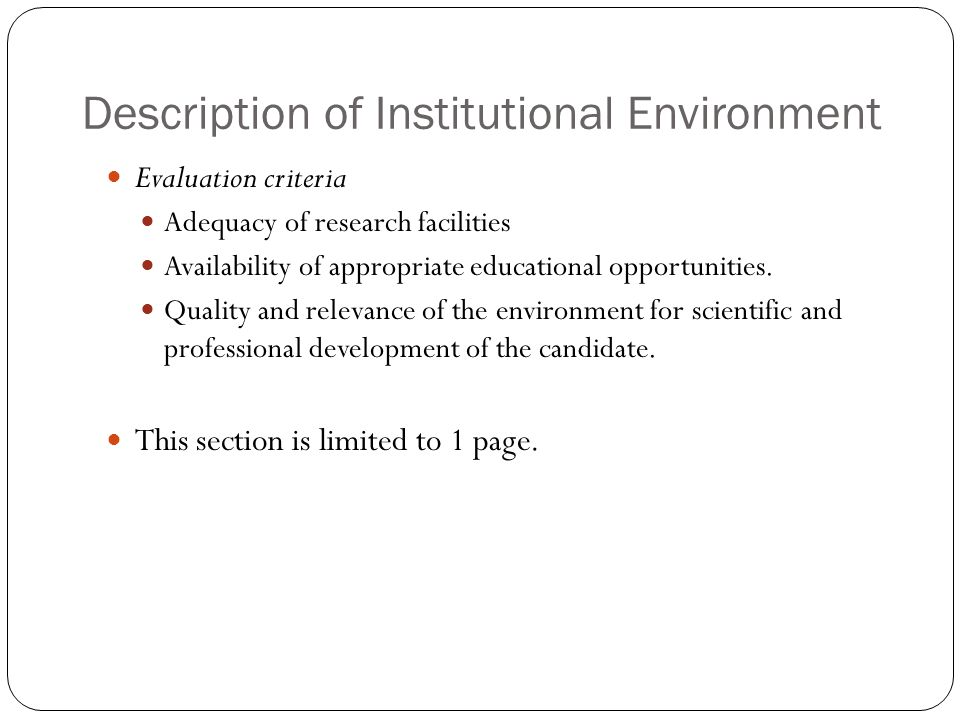 Description of Institutional Environment
