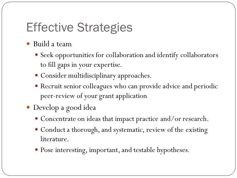 Effective Strategies Build a team Develop a good idea