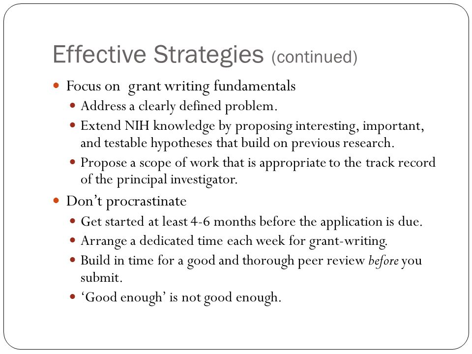 Effective Strategies (continued)
