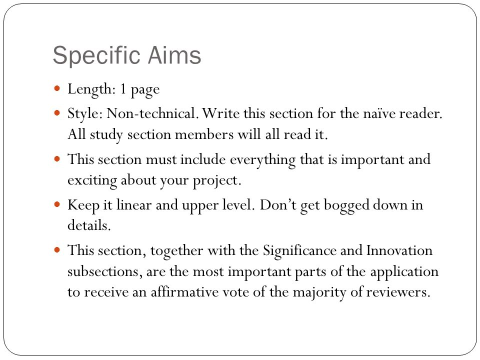 Specific Aims Length: 1 page