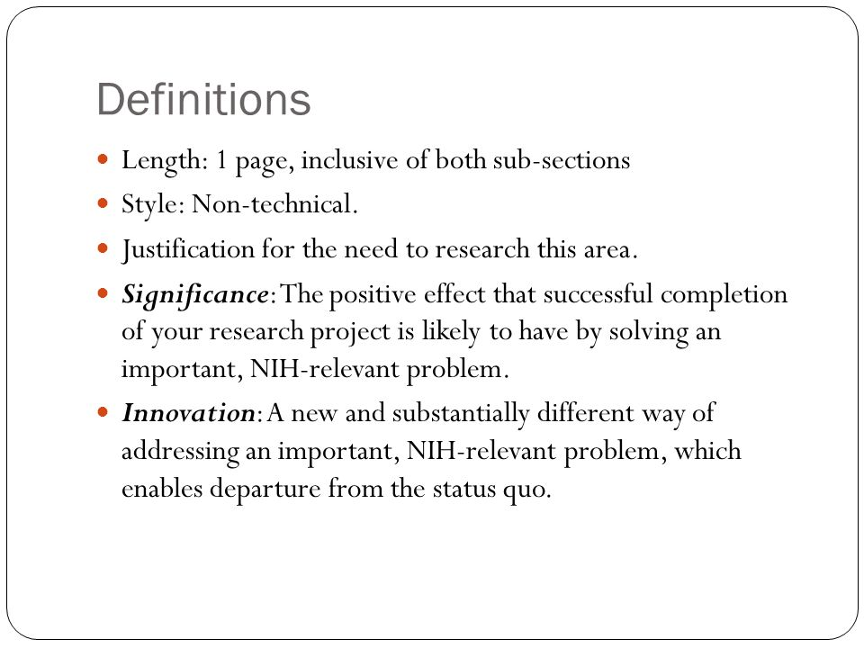 Definitions Length: 1 page, inclusive of both sub-sections