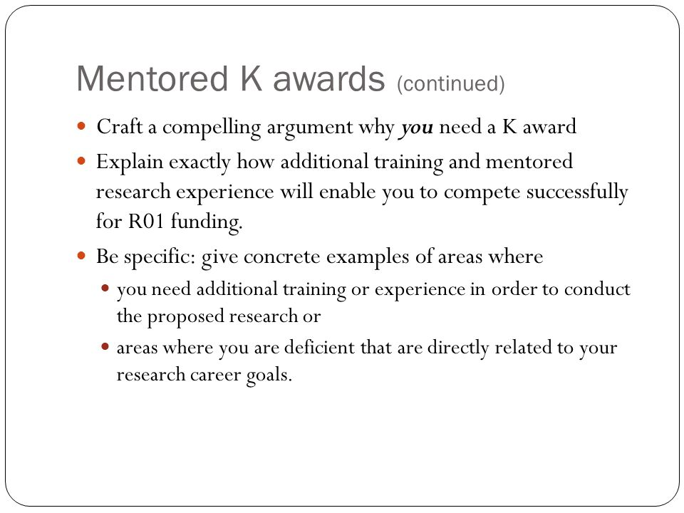 Mentored K awards (continued)