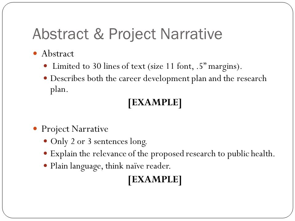 Abstract & Project Narrative