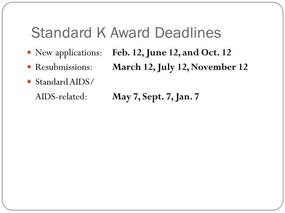 Standard K Award Deadlines