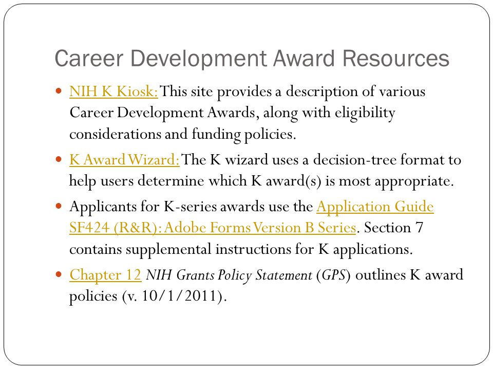 Career Development Award Resources