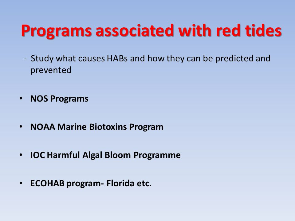 Programs associated with red tides