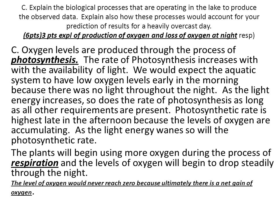 C. Explain the biological processes that are operating in the lake to produce the observed data. Explain also how these processes would account for your prediction of results for a heavily overcast day. (6pts)3 pts expl of production of oxygen and loss of oxygen at night resp)