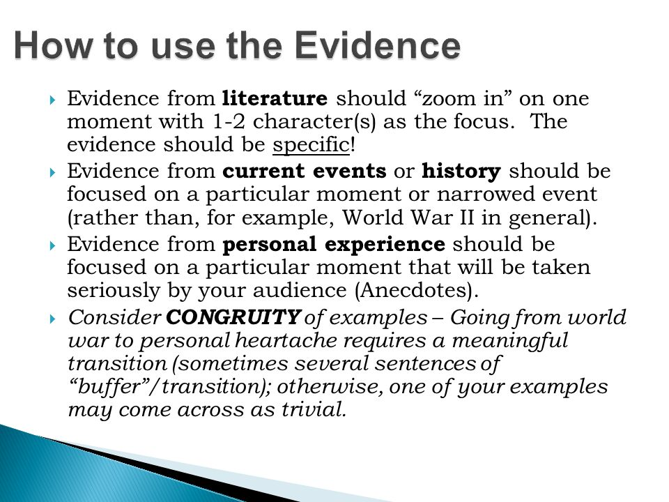 How to use the Evidence