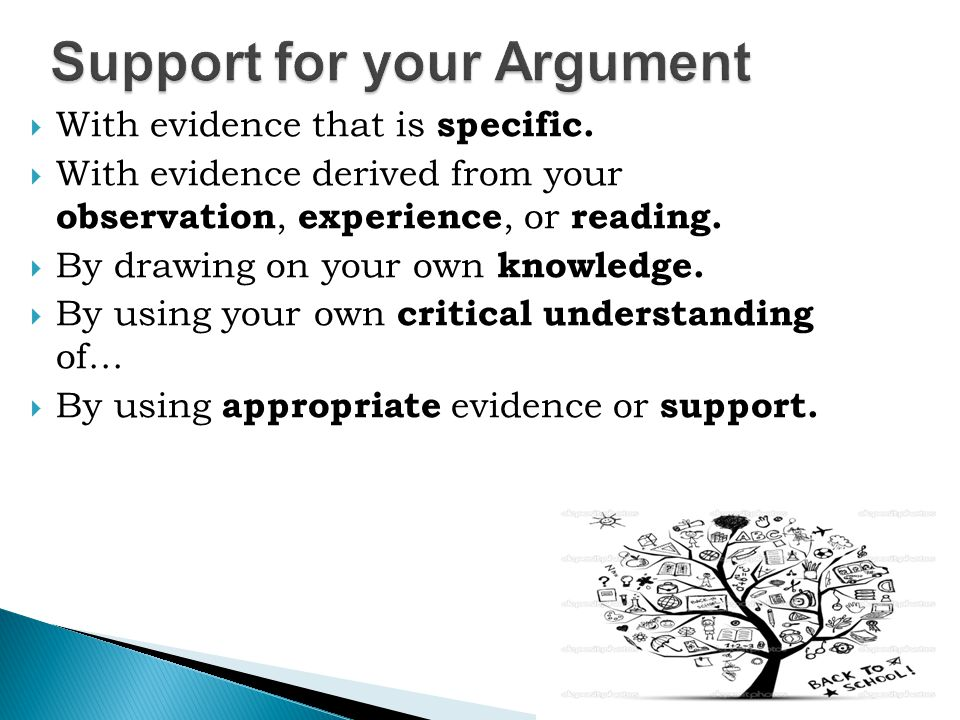 Support for your Argument