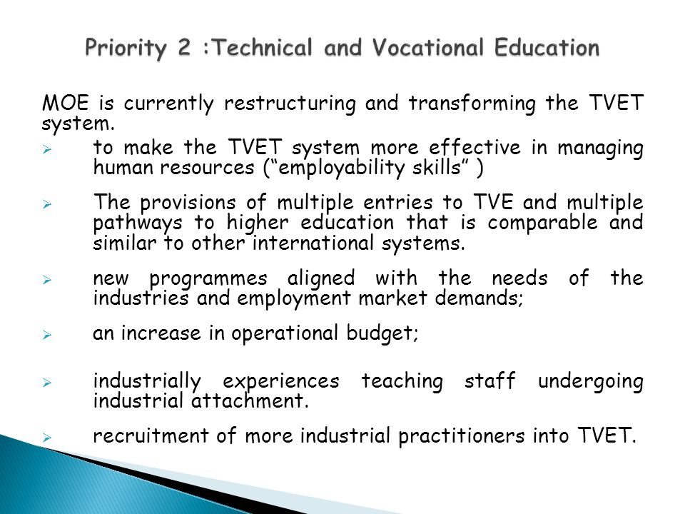 Priority 2 :Technical and Vocational Education