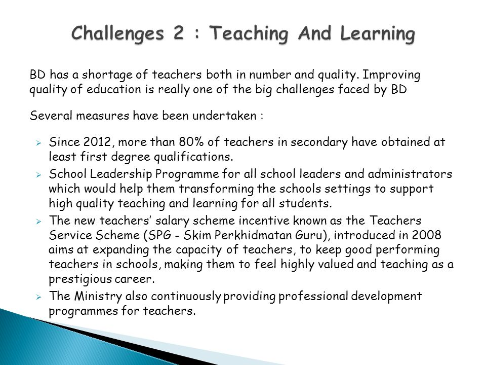 Challenges 2 : Teaching And Learning