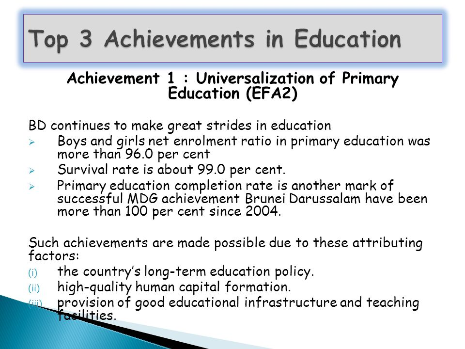 Top 3 Achievements in Education