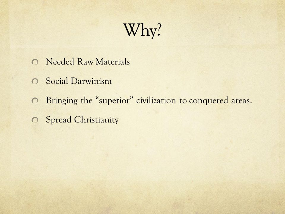 Why Needed Raw Materials Social Darwinism