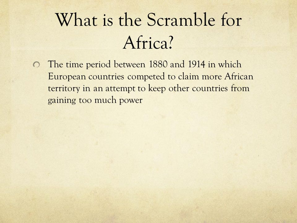 What is the Scramble for Africa
