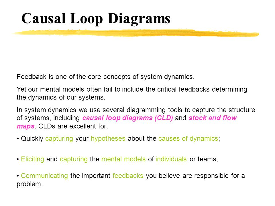 Causal Loop Diagrams Feedback is one of the core concepts of system dynamics.