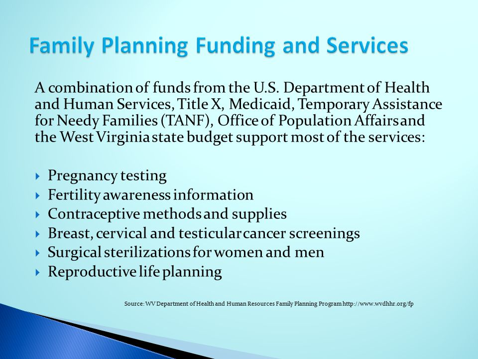 Family Planning Funding and Services