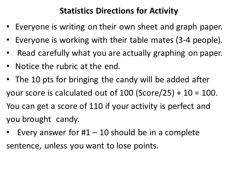 Statistics Directions for Activity