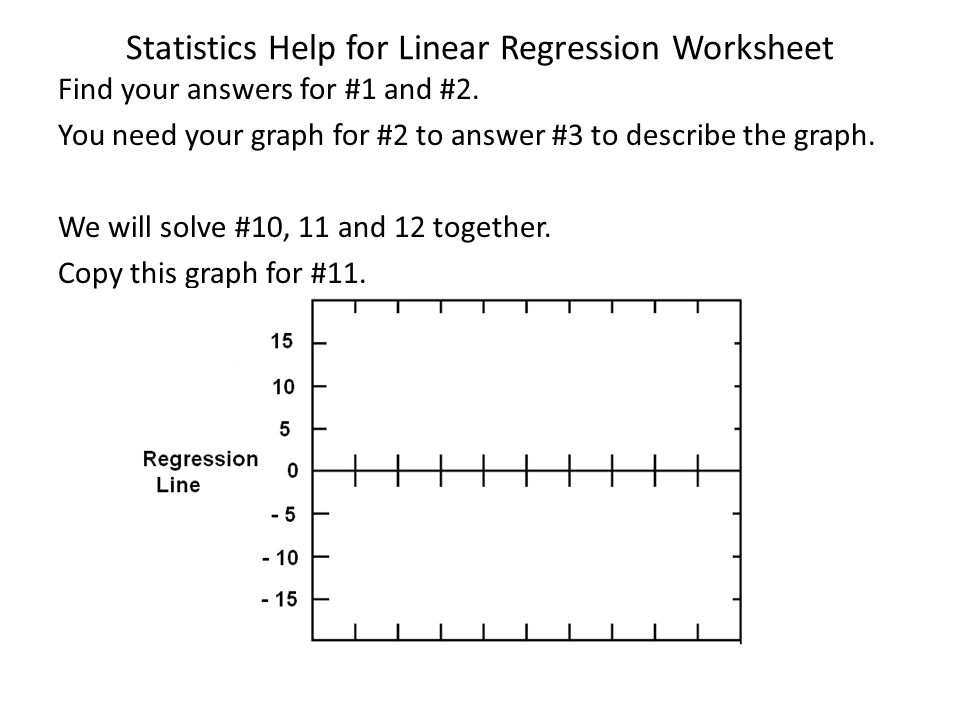 Statistics Help for Linear Regression Worksheet