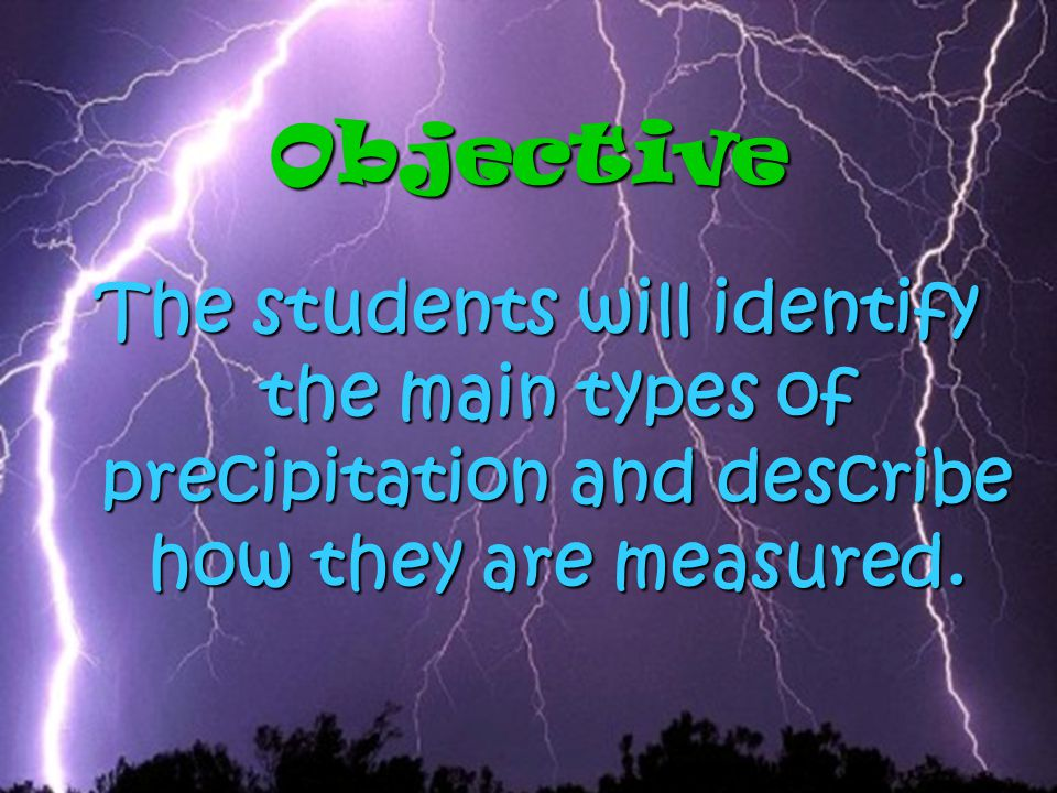 Objective The students will identify the main types of precipitation and describe how they are measured.