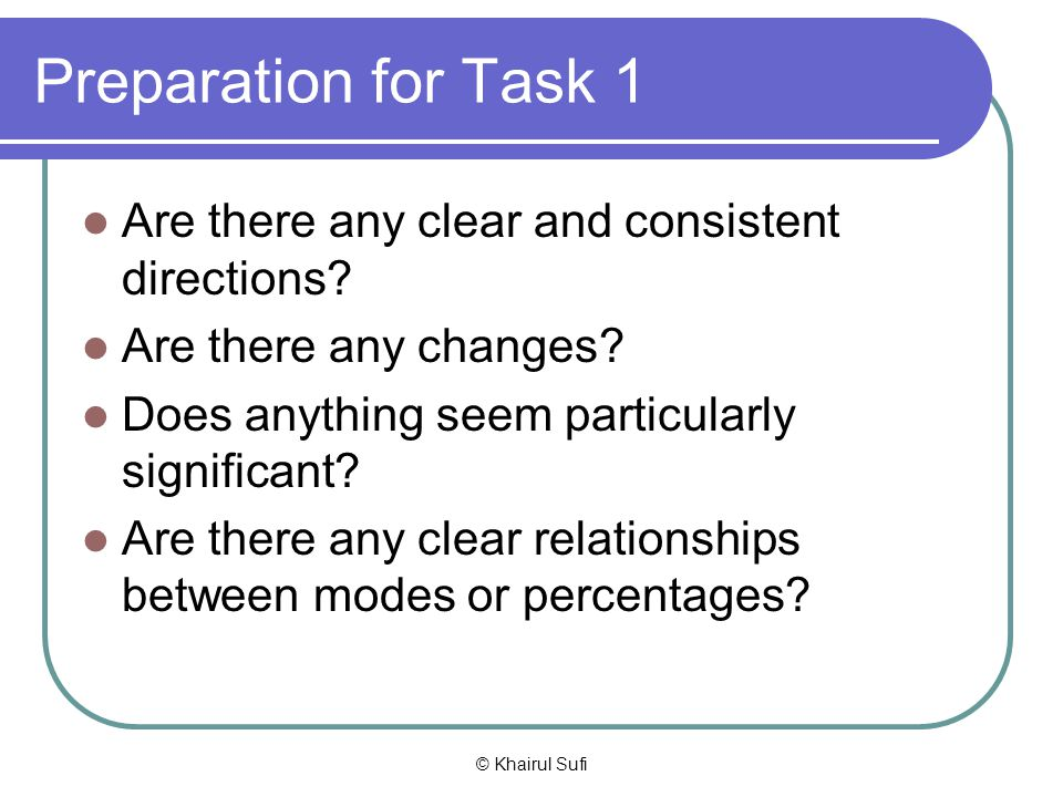 Preparation for Task 1 Are there any clear and consistent directions