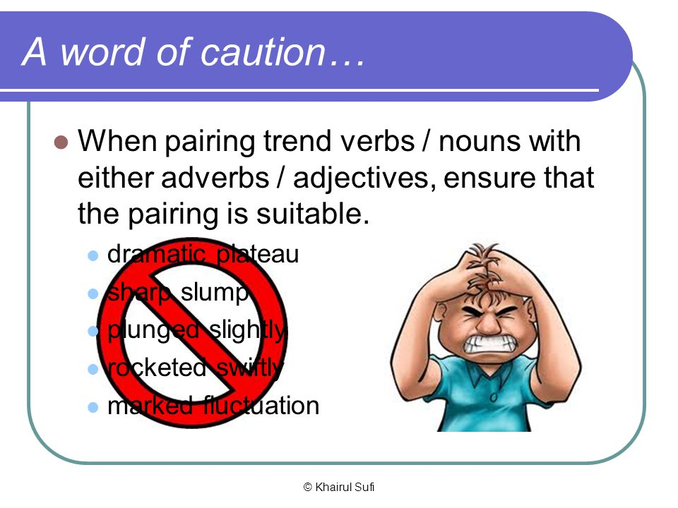 A word of caution… When pairing trend verbs / nouns with either adverbs / adjectives, ensure that the pairing is suitable.