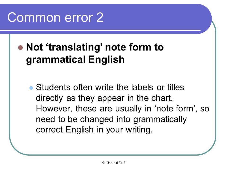 Common error 2 Not 'translating note form to grammatical English