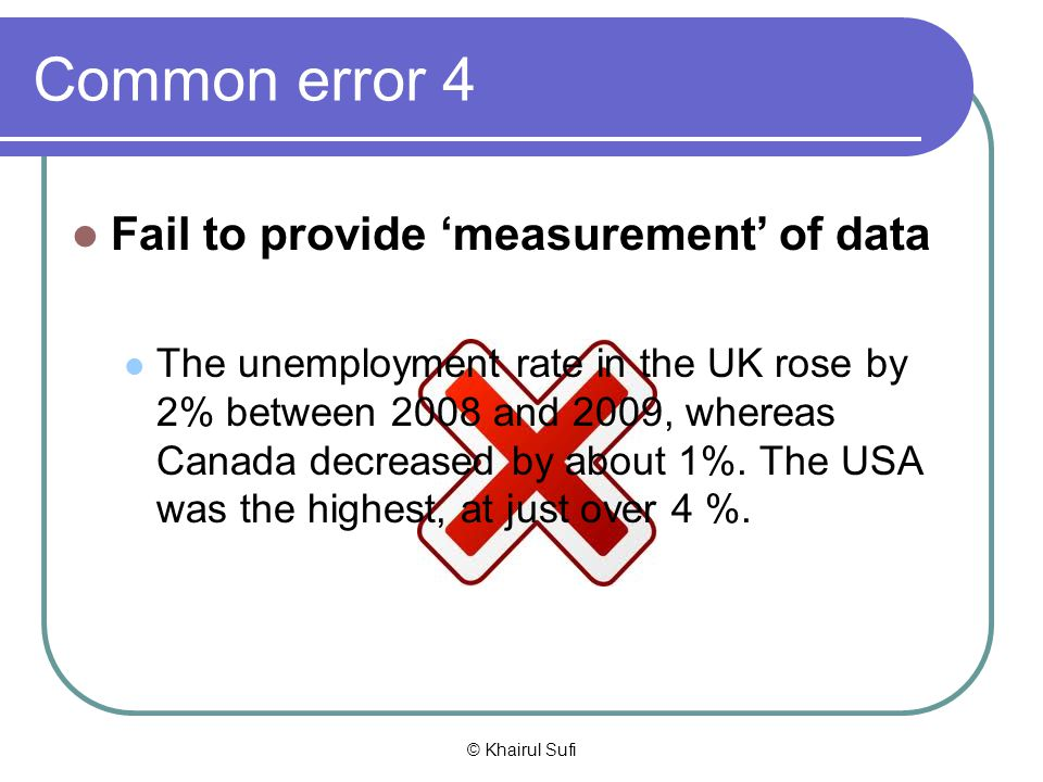 Common error 4 Fail to provide 'measurement' of data