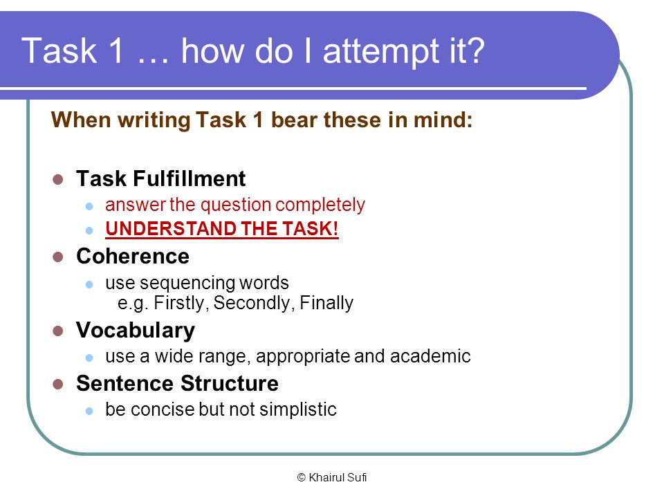 Task 1 … how do I attempt it