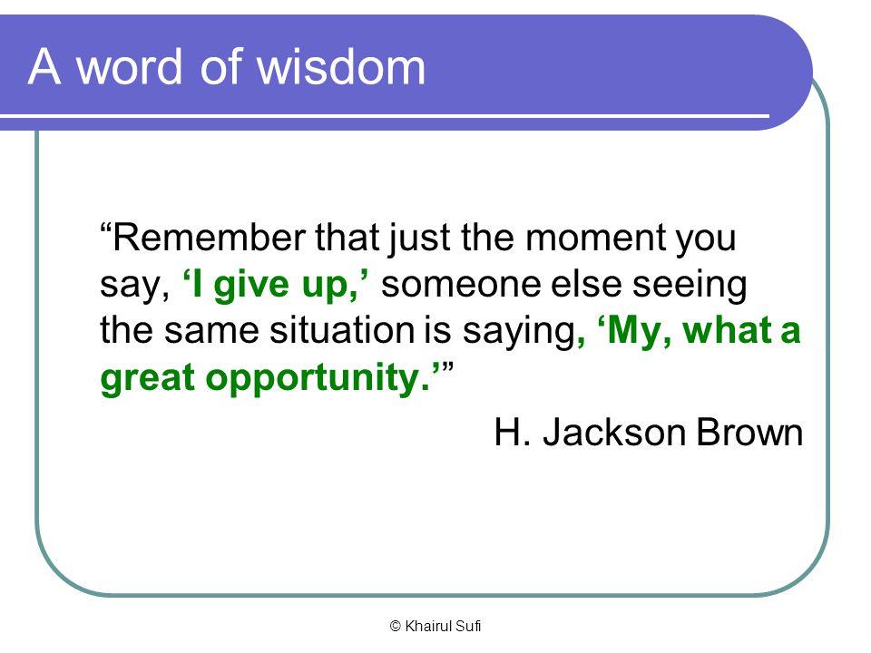 A word of wisdom