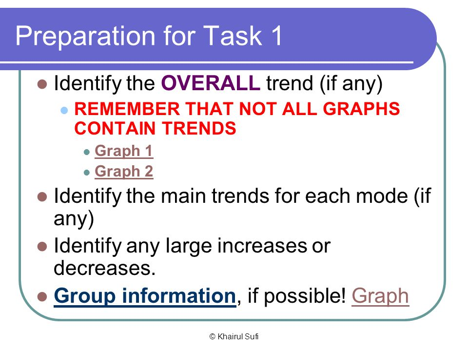 Preparation for Task 1 Identify the OVERALL trend (if any)