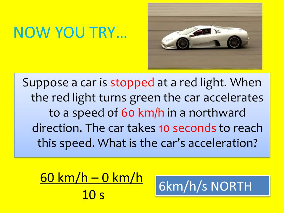 NOW YOU TRY… 60 km/h – 0 km/h 10 s 6km/h/s NORTH