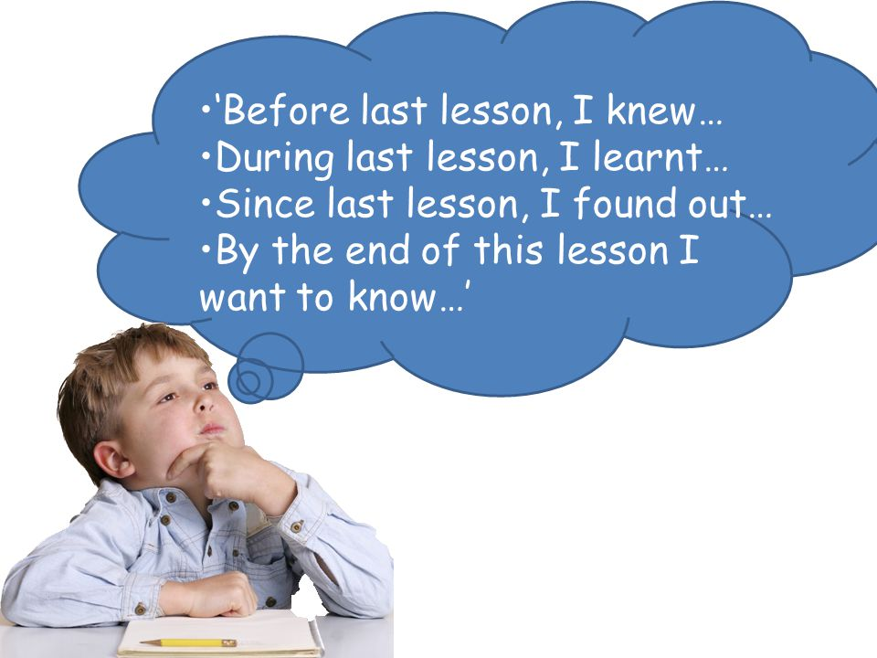 'Before last lesson, I knew… During last lesson, I learnt…