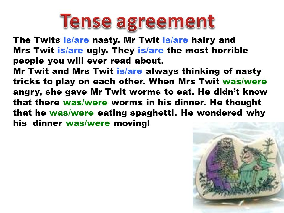 Tense agreement The Twits is/are nasty. Mr Twit is/are hairy and