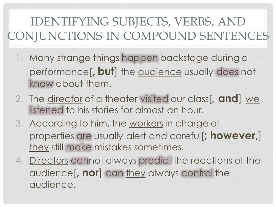 Identifying Subjects, Verbs, and Conjunctions in Compound Sentences