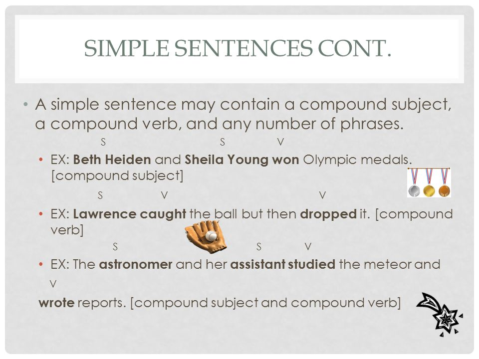 Simple Sentences Cont. A simple sentence may contain a compound subject, a compound verb, and any number of phrases.