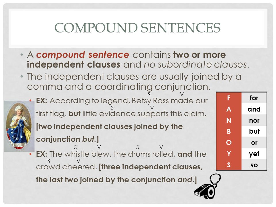 Compound Sentences A compound sentence contains two or more independent clauses and no subordinate clauses.