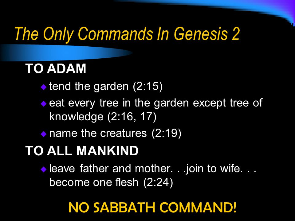 The Only Commands In Genesis 2