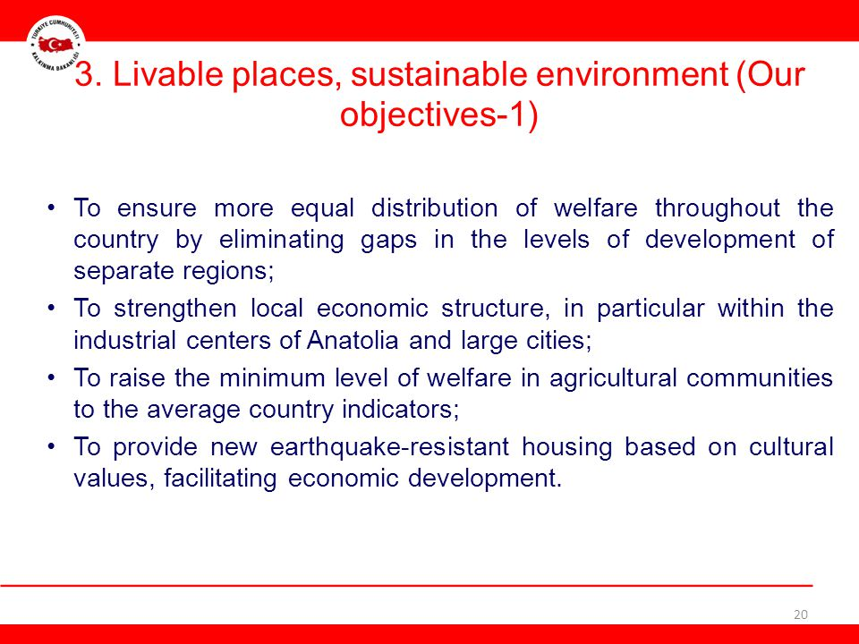 3. Livable places, sustainable environment (Our objectives-1)