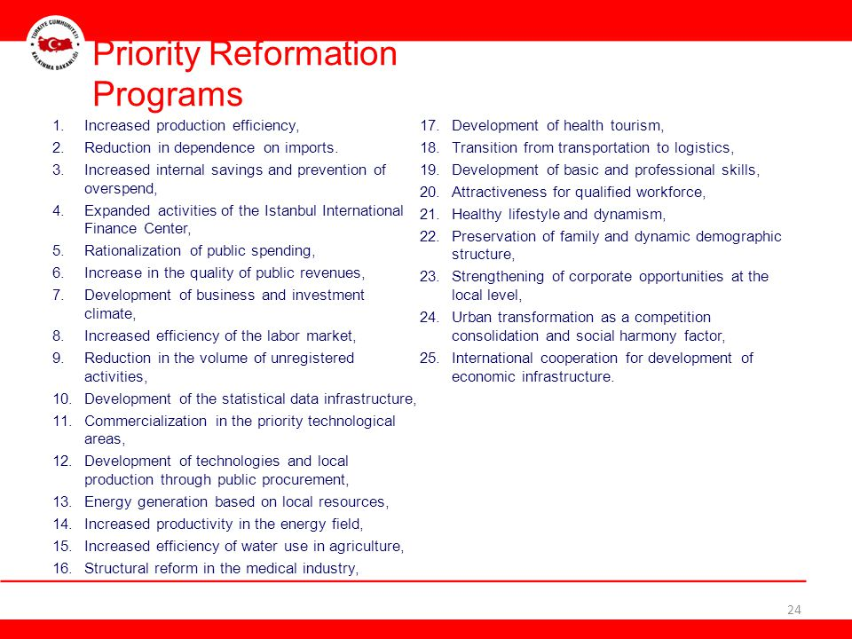Priority Reformation Programs