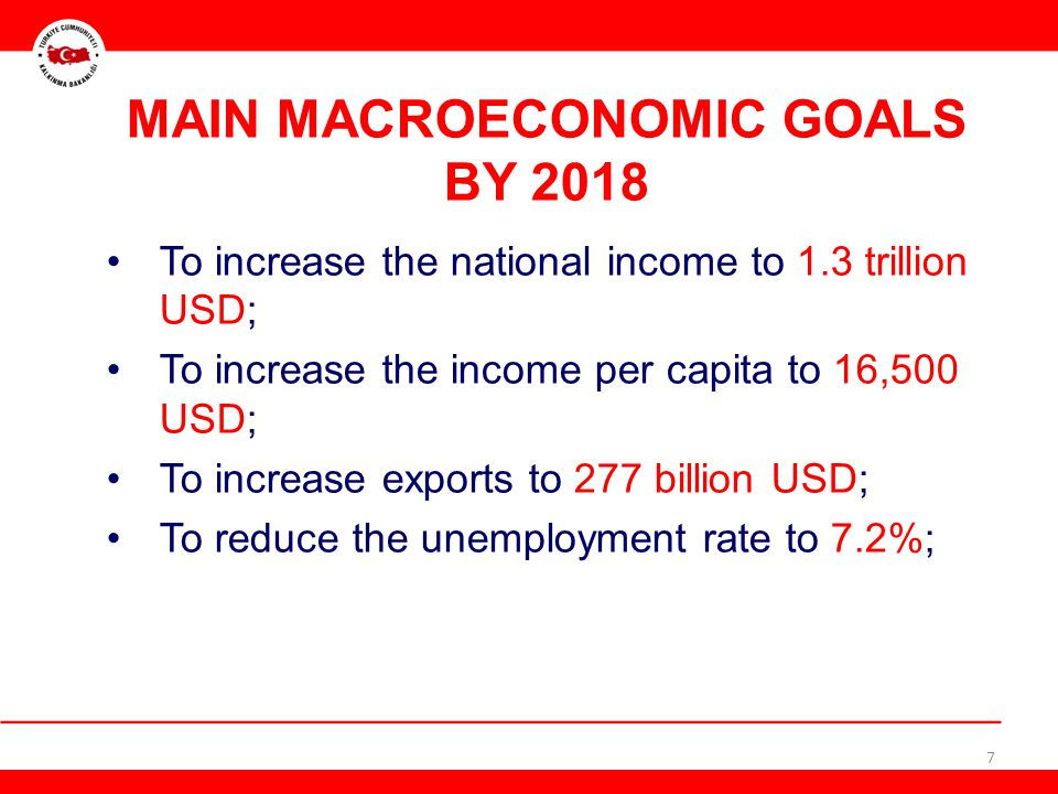 MAIN MACROECONOMIC GOALS BY 2018