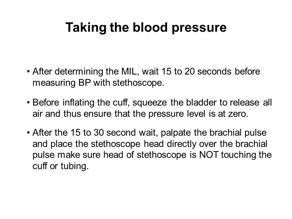 Taking the blood pressure