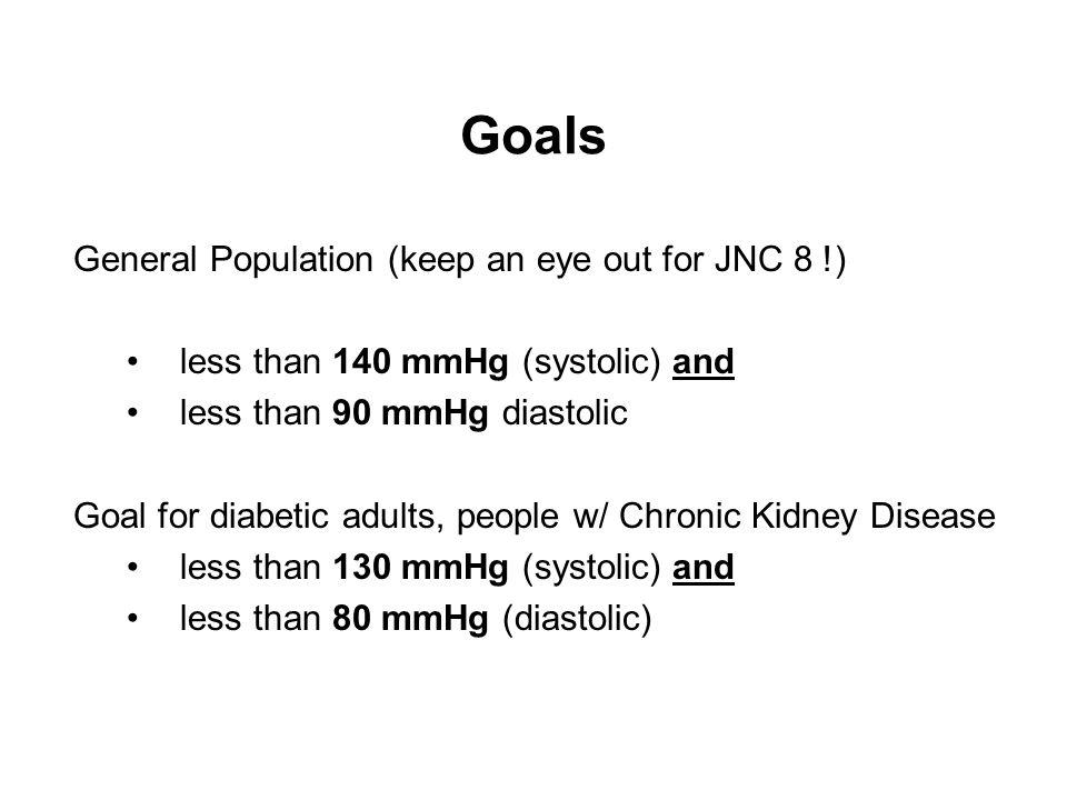 Goals General Population (keep an eye out for JNC 8 !)